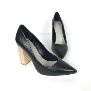 1. State Black Leather Pumps w/ Block Wood Heel